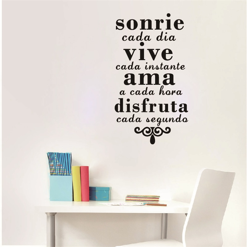 Frases inspiradoras en español, pegatinas de arte de pared, pegatinas de pared con sonrisa para todos los días, Live Every Moment, calcomanías de vinilo para pared, decoración del hogar