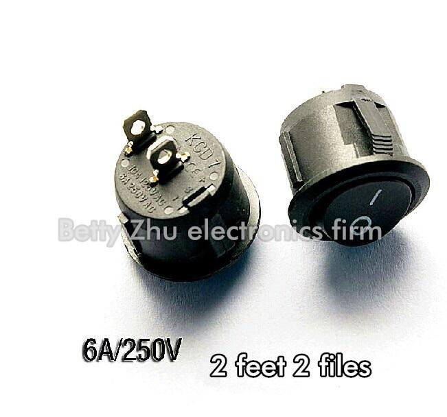 50PCS/LOT Round Rocker Switch KCD1-105 Black 2 feet 2 files rocker switch 10A / 125V 6A / 250V
