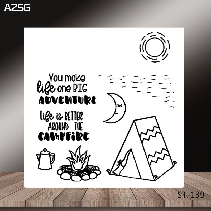 Sellos transparentes AZSG Leisure Camping Life Bonfire/sello para DIY Scrapbooking/fabricación de tarjetas/álbum decorativo sello de silicio Crafts