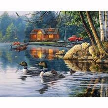 Diamond Embroidery Mosaic Lakeside Cabin & Ducks 5D Diamond Painting Full Diamond Cross Stitch Needlework DIY Painting Craft