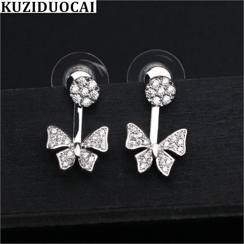 Kuziduocai New Fashion Fine Jewelry 925 Sterling Silver Zircon Butterfly Drop Earrings For Women Gif