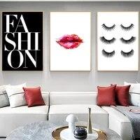Affiches et imprimes sur toile avec cils modernes pour fille  maquillage  art mural pour decoration de maison