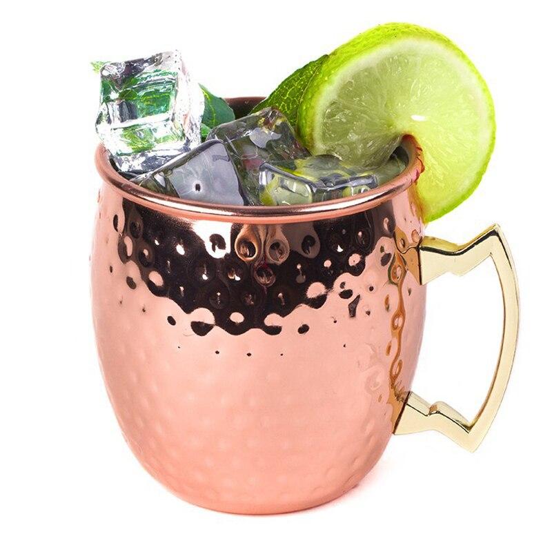 1 Uds 550ml 304 Acero inoxidable forma de tambor Moscú taza martillada cobre plateado cerveza taza cerveza vaso agua vidrio Drinkware 12,27