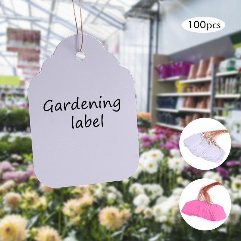 100Pcs Plants Hang Tag Labels Seedling Garden Flower Pot Plastic Tags Number Plate Hanging Reusable PVC Garden Tools 3.6*2.5CM