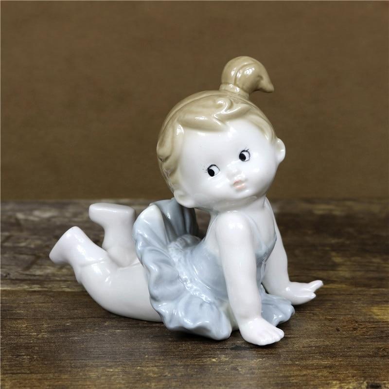 Adorável porcelana do bebê ballet dançarino estatueta artesanal cerâmica boneca bailarina estatueta decoração arte e artesanato ornamento acessórios