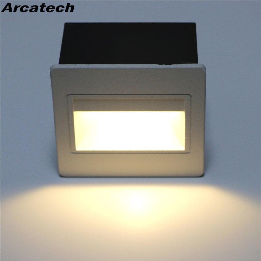 5W con caja empotrada de aluminio luces de paso al aire libre impermeable IP65 Luz de escalera LED lámpara LED de pared para exterior Luz De pie NR-15