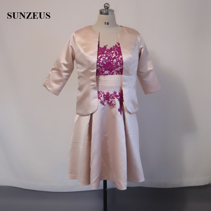 Vestido elegante de la madre de la novia de champán de media manga de longitud del té con la chaqueta negro apliques perlas Godmother CM0118