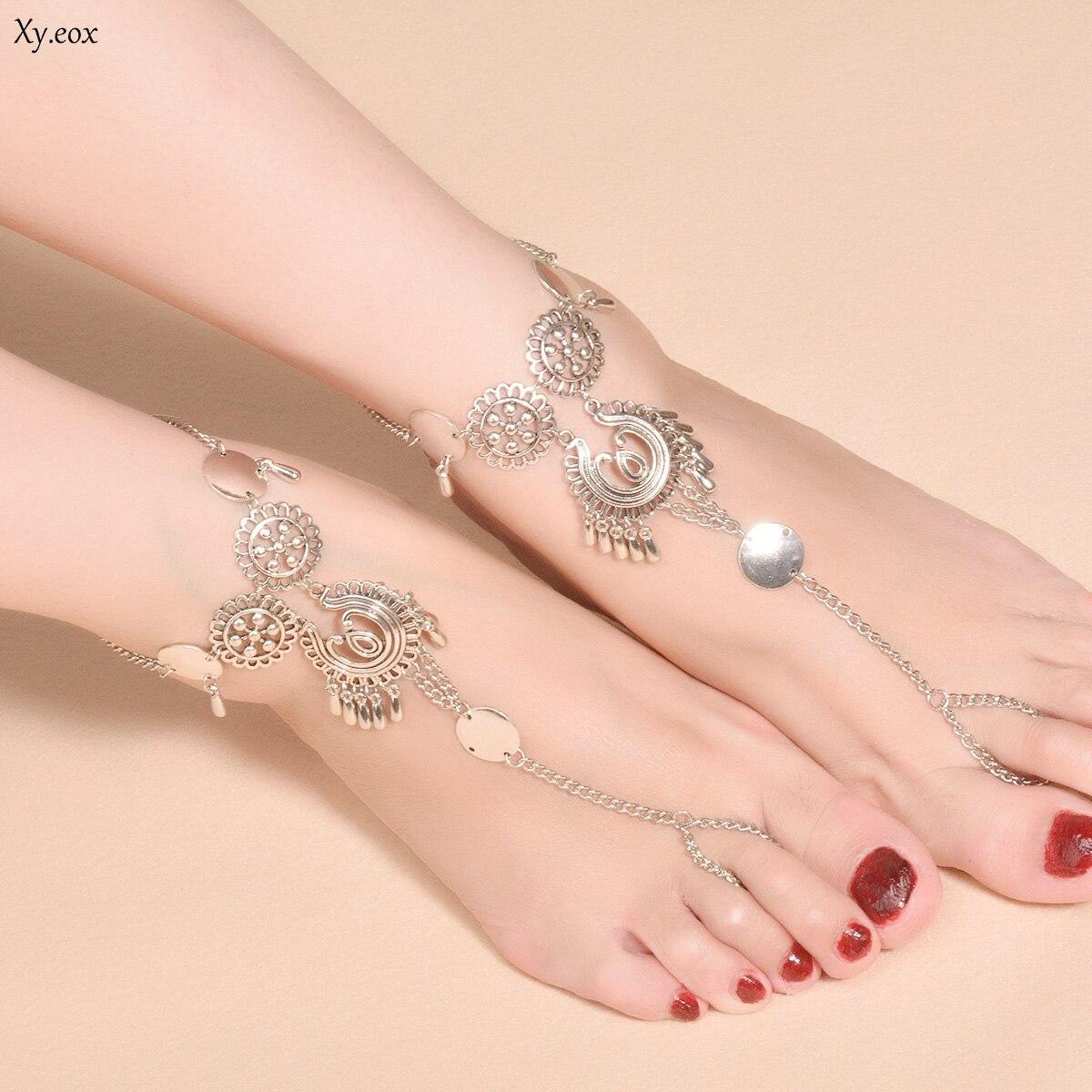 Moda aleación redonda flor dedo del pie anillo gota de agua tobillera con lentejuelas cadenas de pie