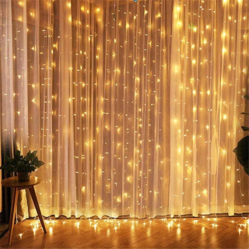 Guirnalda de cortinas FGHGF feérico Navidad, luz 3x1M 3x3M 220V, guirnalda de LED decorativo de Navidad, luces de boda y jardín para fiesta de navidad