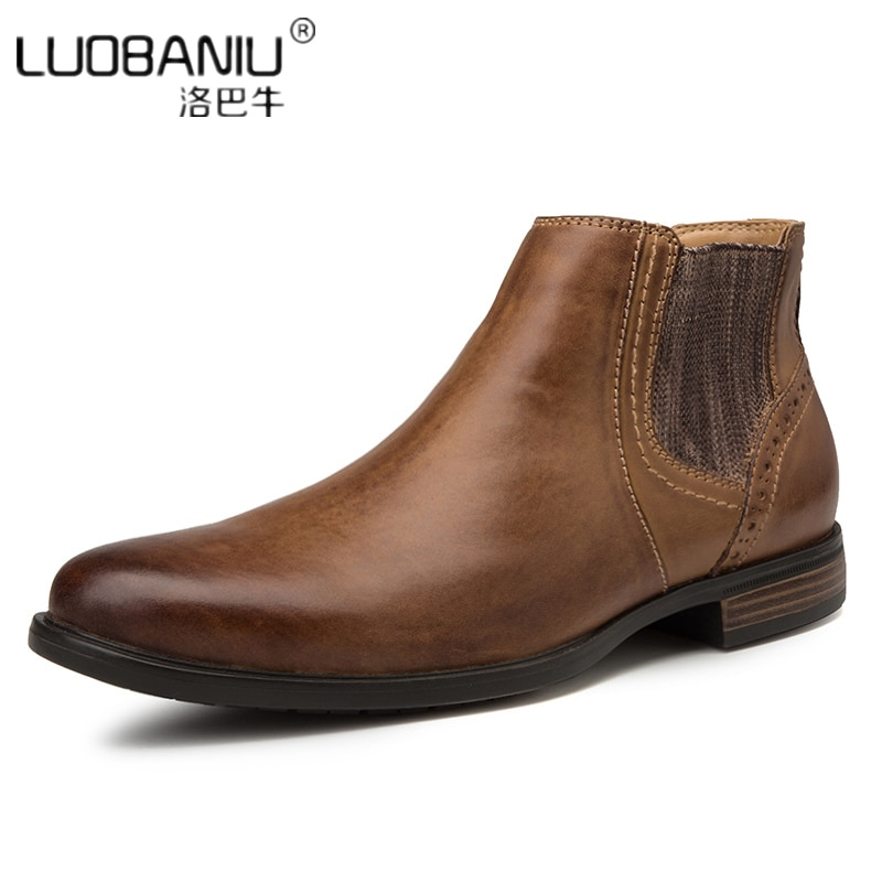 US 6-11 Real Leather Pointed Toe Men Chelsea Boots Slip On Man Ankle Boots Western Cowboy Motorcycle Boots