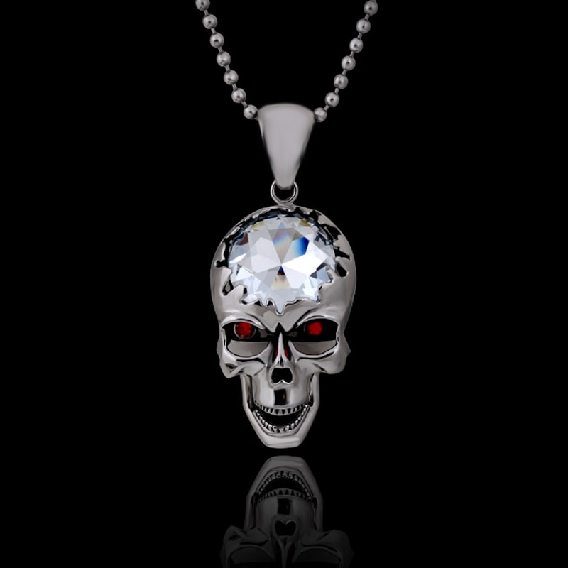 Ожерелье с подвеской в виде серебряного черепа, в готическом стиле, с подвеской в виде большого черепа, с регулируемой щетиной, на лбу-белый камень, с глазами из красного стекла