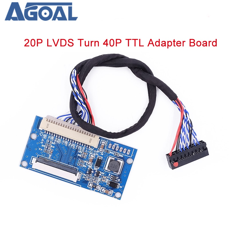 LVDS 1ch 8bit S8 DF14-20Pin Drehen um 40Pin TTL Signal LCD t-con board Converter Board für 7-10,1 zoll 1024x768 LCD Panel