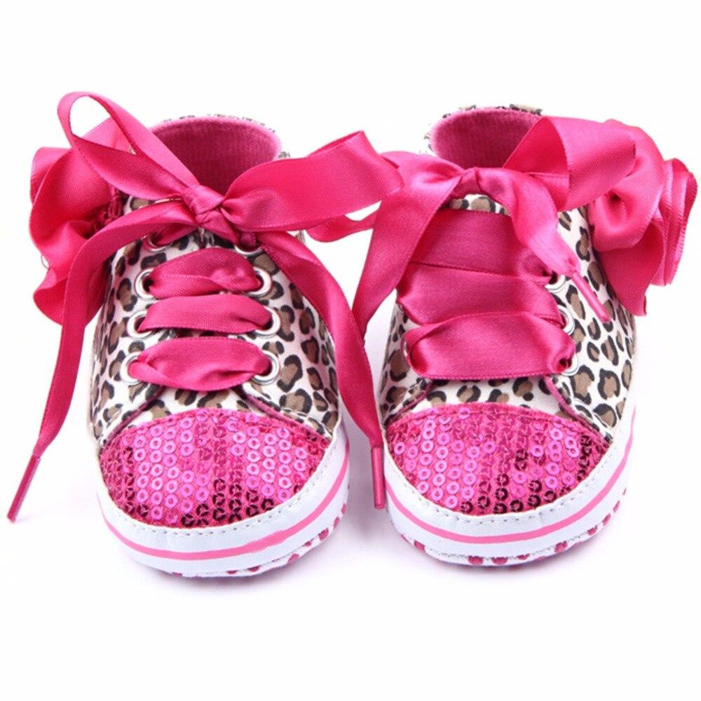 Infant Kid Mädchen Leopard Bling Schnürsenkel Schuhe Baby Kleinkind Weiche Sohle Sneaker Krippe Schuhe