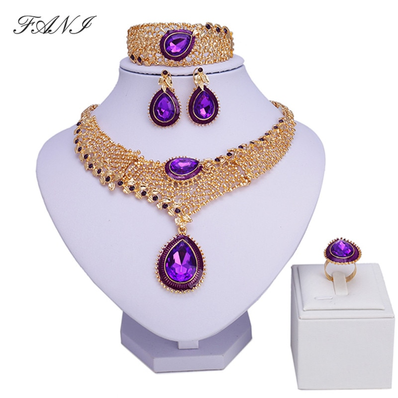 Fani moda africano conjuntos de jóias femininas traje nigeriano conjunto de jóias de casamento marca dubai cor do ouro conjunto de jóias design por atacado