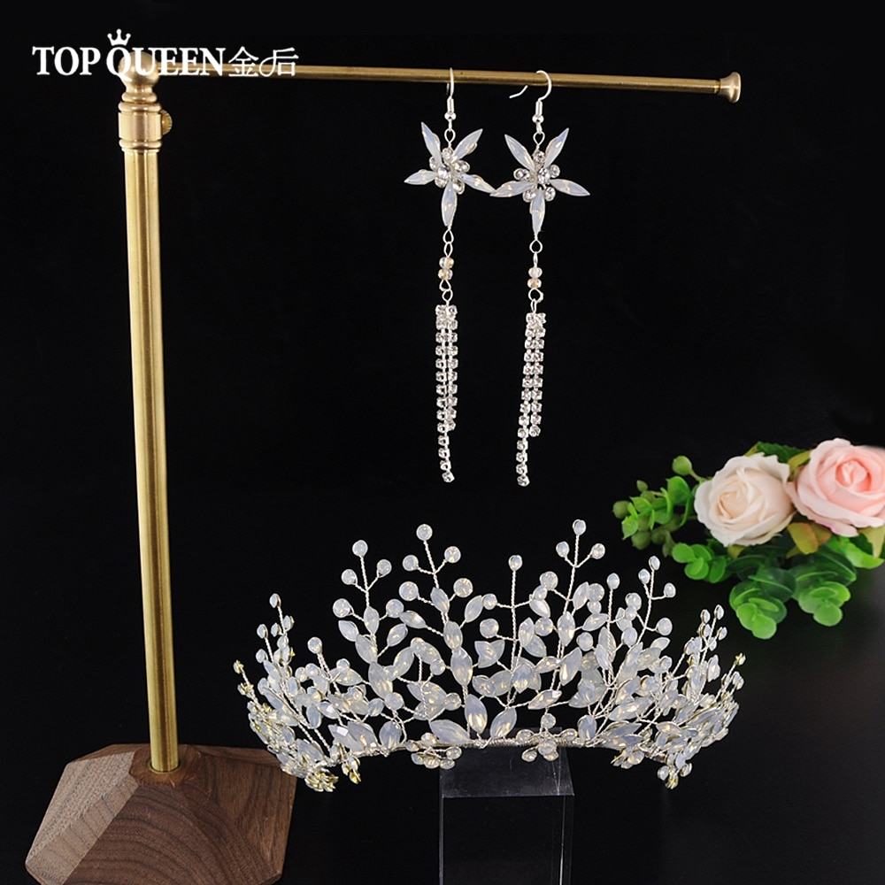 TOPQUEEN HP200 Bridal Tiara Crystal Wedding Tiara and Crown Crystal Bride Hair Jewelry Handmade Wedding Hair Accessories