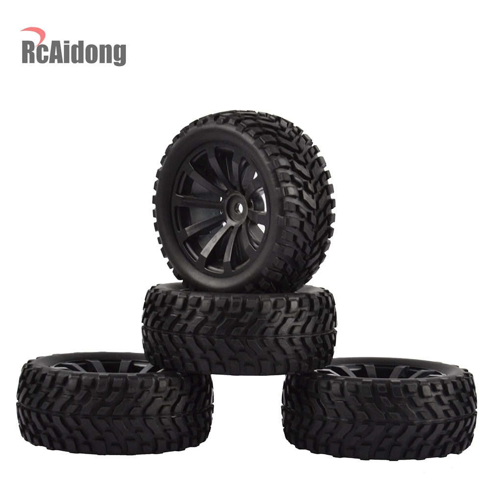 4PCS 1/10 RC Rally Car Grain Rubber Tires Off-road Tires and Wheels for Traxxas Tamiya HSP HPI Kyosho RC On Road Car