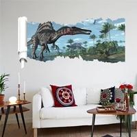 stegosaurus 3d dinosaur broken hole wall stickers for store office home decoration diy kids room animal wall mural art pvc decal