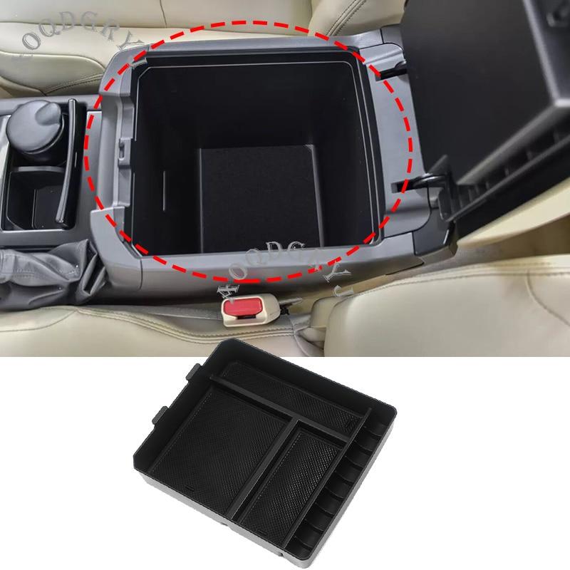 Bandeja preta da luva do armazenamento do apoio de braço do console central para toyota land cruiser prado fj150 2010-19