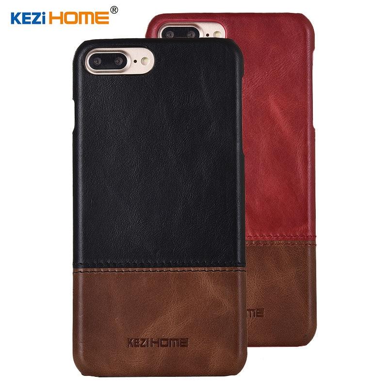 Funda para iPhone 7 Plus KEZiHOME lujosa funda trasera dura de cuero genuino Color Hit para el iPhone 8 Plus