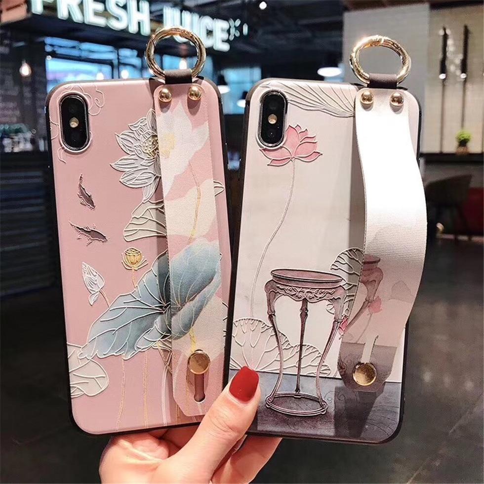 Kuutti Squishy Sweet China pintura 3D Rosa flor mujeres niñas fundas de teléfono para iPhone 6 6s 7 8 Plus X XR XS Max con muñequera