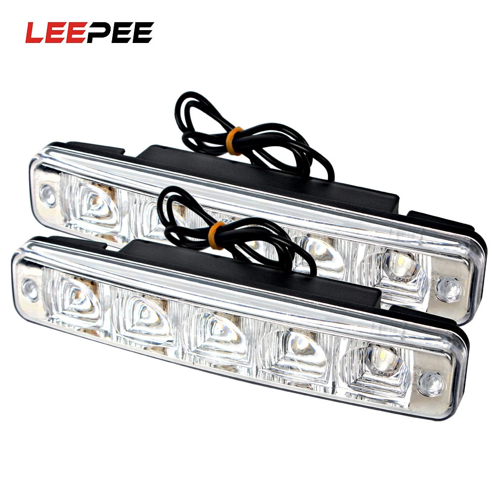 LEEPEE Daylight External Lights 5 LEDs DRL Daytime Running Light Car Lights Waterproof Universal Car Styling