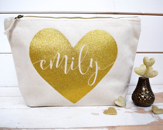 personalize name heart wedding bride Bridesmaid Makeup Gift Make Up comestic Bags pouches Maid of Honour Christmas Birthday gift