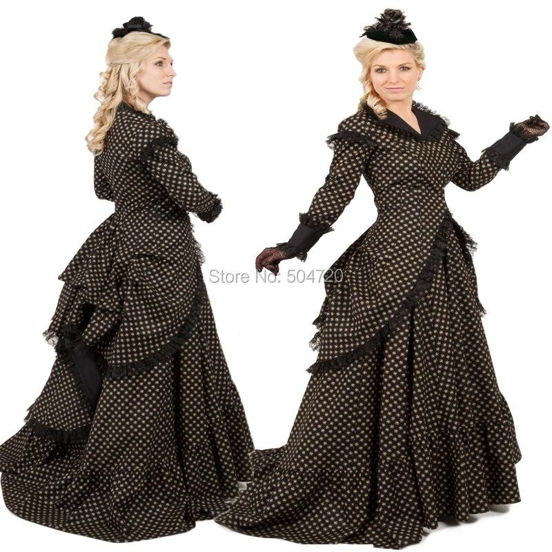 Recién llegado negro Vintage disfraces vestido medieval, del Renacimiento revolucionario gótico vestido disfraz de Halloween HL-139