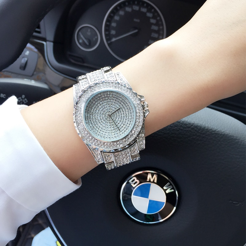 2019 Women Rhinestone Watches Rose Gold Dress Watches Full Diamond Crystal Women's Luxury Watches Female Quartz Watches 3 Colors enlarge