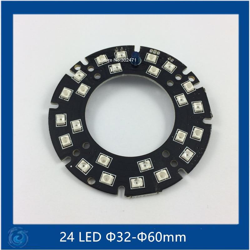 Infrared 24 IR LED board for CCTV Cameras night vision (size F32-F60mm) SMT3528 LED