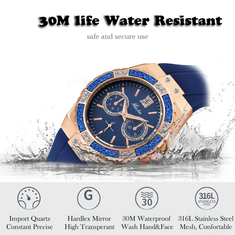 MISSFOX Women Quartz Watch Fashion Luxury Brand Rose Gold Bling Ladies Watch Diamond Black Rubber Band Female Clock Xfcs 2020 enlarge