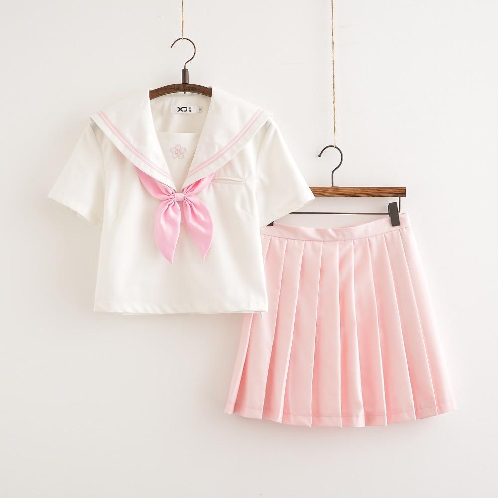 Sakura Schule Kleid Lolita Sommer Rosa rock JK Japanischen Schule Uniformen Top + Rock + Krawatte Teen Mädchen Anime Cosplay sailor Anzüge