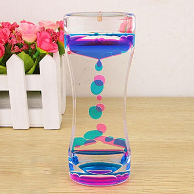 Hot Floating Color Mix Illusion Timer Liquid Motion Visual Slim liquid Oil Acrylic Hourglass Timer Clock Ornament Desk