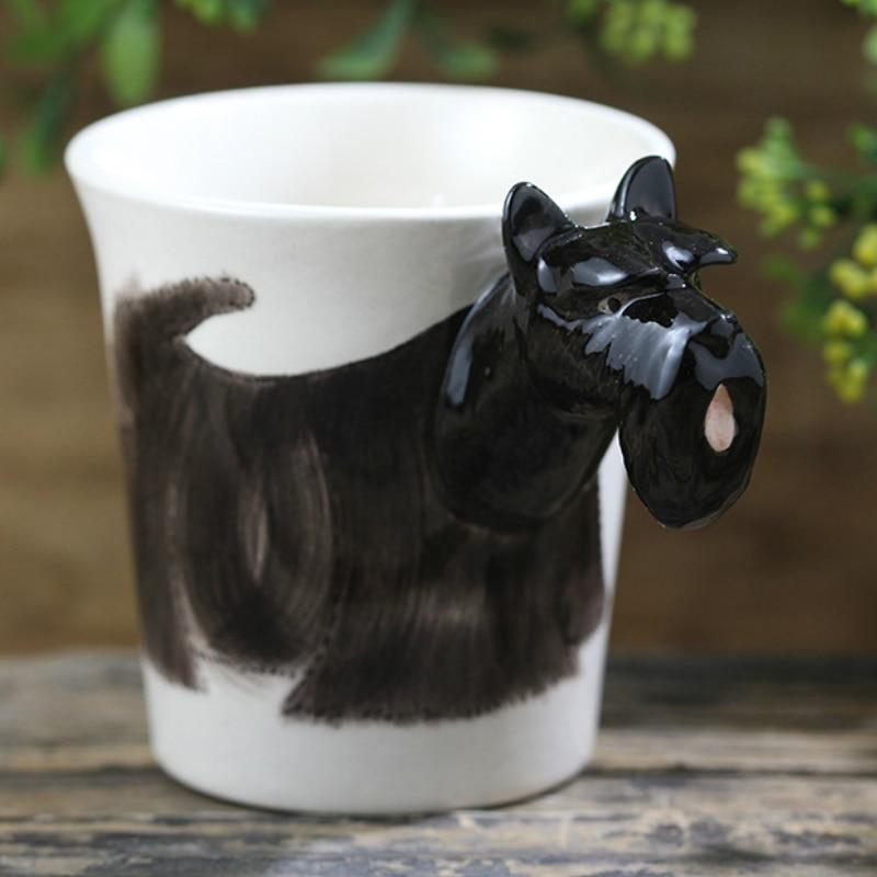 300ml Black Scottish Terrier Ceramic Cup 3D Cartoon Animal Mug Funny Dog Coffee Cup Tazas De Ceramica Creativas