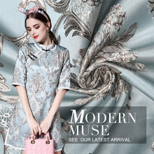 145cm widthTop Quality import Retro palace flower style Metallic Jacquard Brocade Fabric, 3D yarn dy