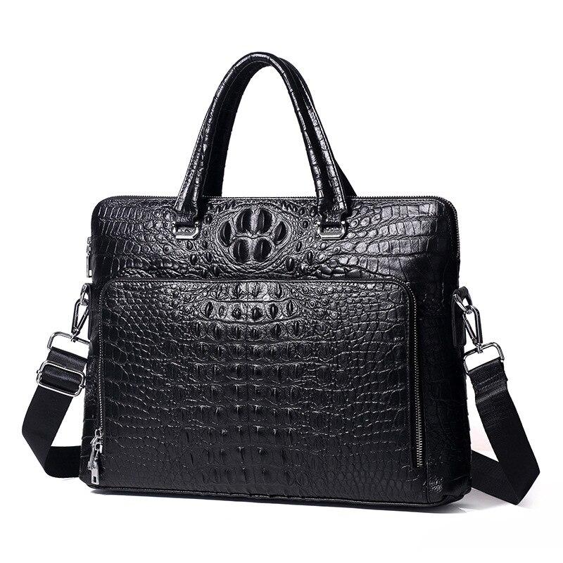 New Luxury 100% Cow Genuine Leather Business Men's Briefcase Male Alligator Shoulder Bag MenMessenger Bag Tote Computer Handbag