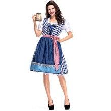 Adult Women Oktoberfest Festival Dirndl Costume German Traditional Blue Fancy Midi-Length Plaid Apron Dress For Ladies 2XL