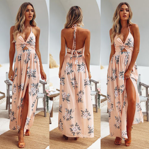 Hot sale sexy Womens Summer halter vacation Boho Maxi Long Dress Evening Party Beach Dresses Sundress Floral emale Vestidos
