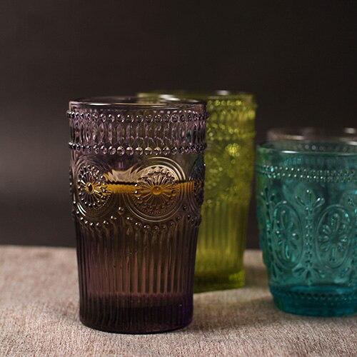 كؤوس زجاجية عالية الجودة للبن ، نقش ريترو ، زهرة الشمس ، فنجان قهوة أنيق ، نمط زكا ، نبيذ دائري ، 400 مللي