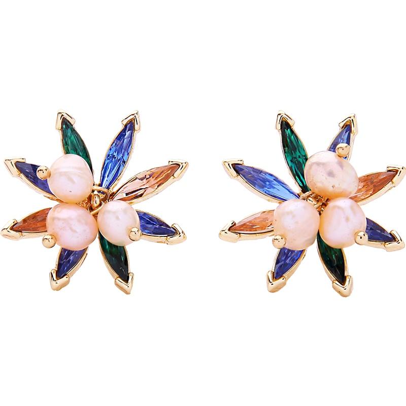 Bulk Price Cultured Pearl Earrings 2018 Classic Fashion Colorful Acrylic Plant Flower Ear Stud Earring Korean Jewelry Accessory