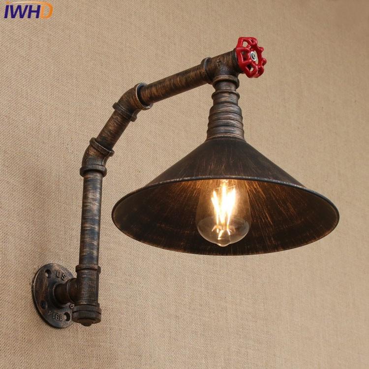 Lámpara de pared de tubo de agua Retro de hierro americano de estilo Industrial, iluminación Industrial Vintage, interruptor de luz de pared de 220v