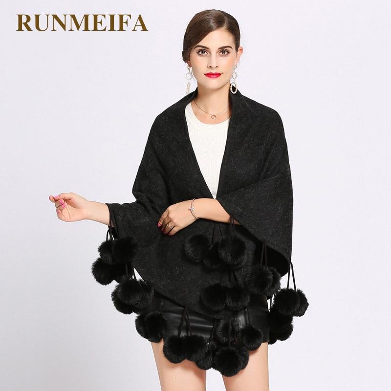 Женский вязаный пончо RUNMEIFA, зимний пончо с помпоном из искусственного лисьего меха, шаль, накидка, пончо, женское, элегантное