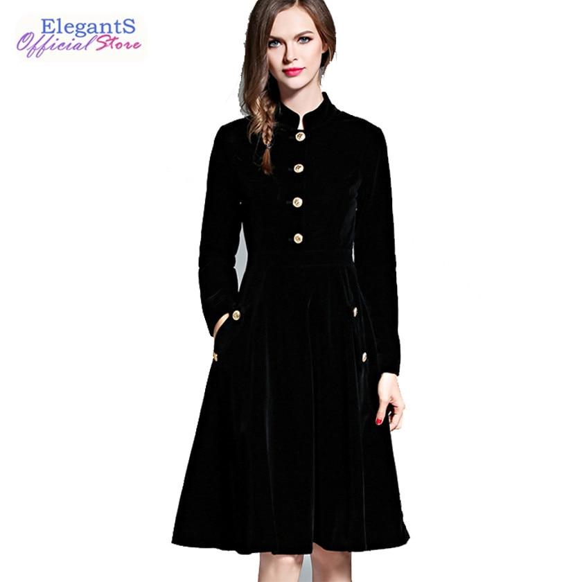 Elegant Black Velvet Dress Women Spring Vintage Casual Dresses 2019 Audrey Hepburn Long Sleeve Office Lady Dress Vestidos Robe