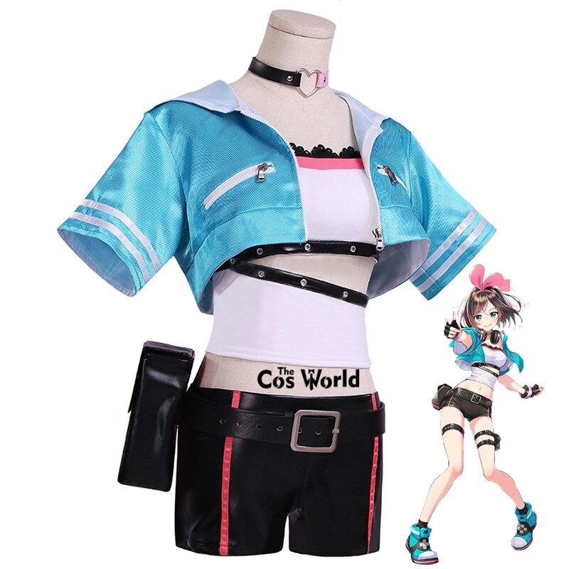 Kizuna AI que Canal Youtuber tubo Tops abrigo pantalones cortos uniforme vestuario Cosplay traje de vestir