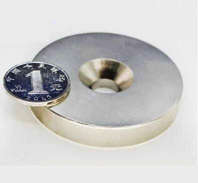 2pcs Super Strong Round Neodymium Countersunk Ring Magnets 60mm x 10mm Hole:10mm N50 Neodymium Magnet