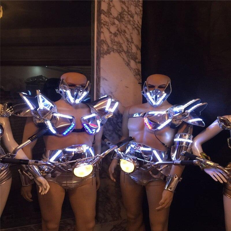AS89 LED Luz de salón de baile traje de mujer/sujetador de escenario bar led trajes dj disco cosplay fiesta cantante sexy desgaste danza robot hombres ropa