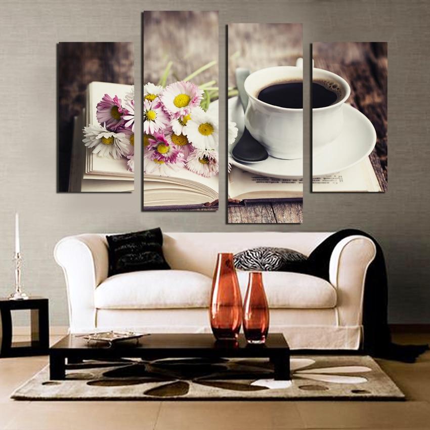 Envío gratis 4 piezas Frower café té moderno lienzo impresión pintura pared arte Decoración Para La habitación de la cocina sin marco
