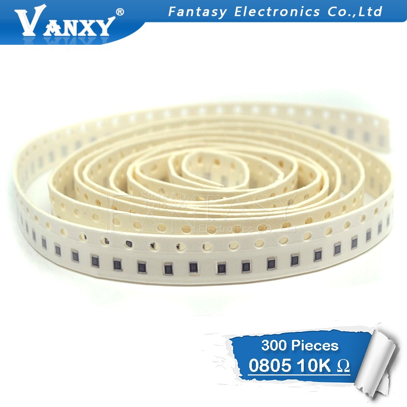 300 pces 0805 smd resistor 1% 10 k ohm 1/8 w 103