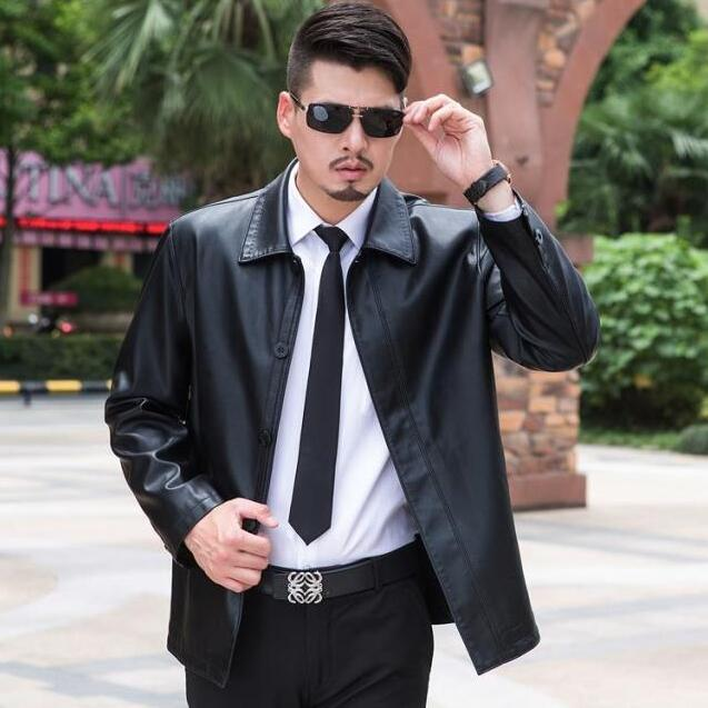 Free Shipping 2020 New Autumn Casual Men's Leather Jackets Coats Locomotive Style Mens Lapel Leather Coats M-XXXL