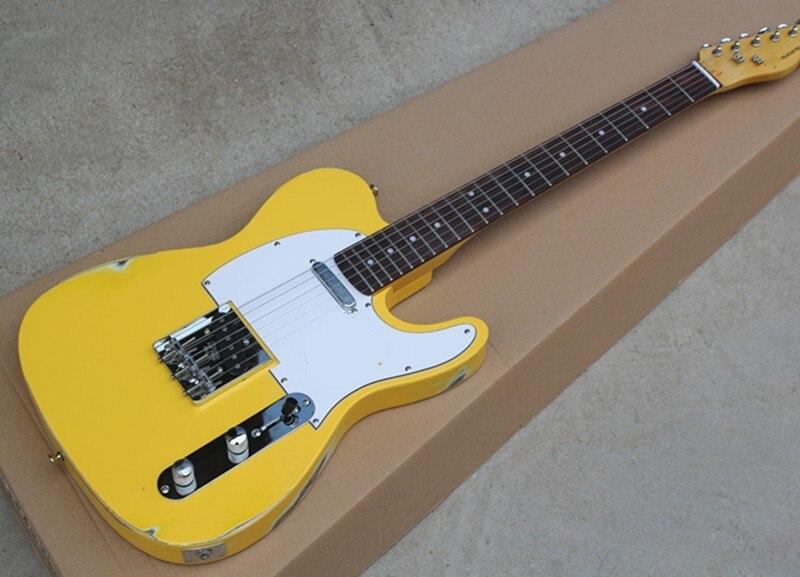 Fábrica personalizado retro amarelo corpo TL guitarra elétrica com captadores 2, hardware cromado, branco pickguard, pode ser personalizado