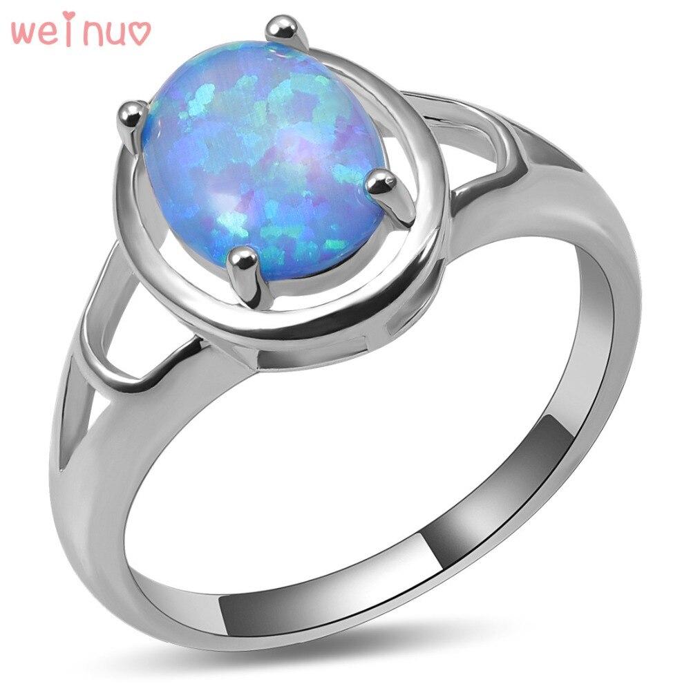 Anillo de ópalo de Fuego Azul Weinuo, Plata de Ley 925, joyería elegante de alta calidad, anillo de boda, tamaño 5 6 7 8 9 10 A440